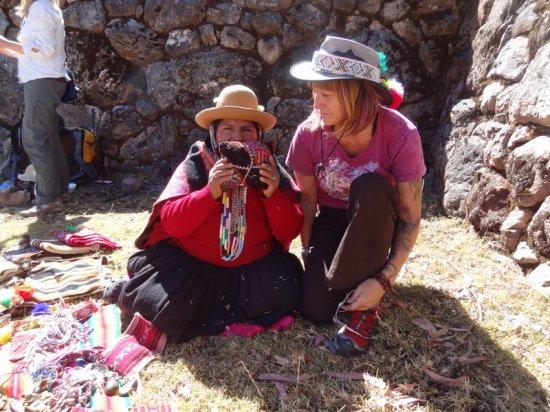 Shaman Juanita blessing Dani's mesa in Peru
