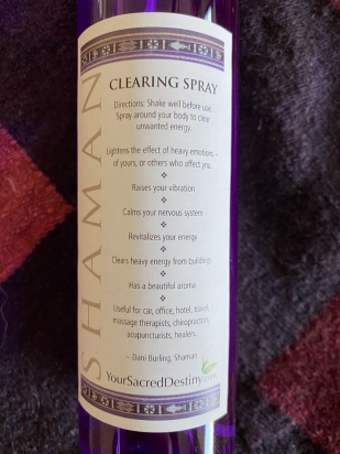 Back label of Shaman Clearing Spray