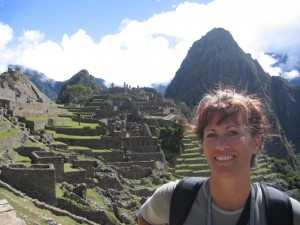 Dani with Machu Picchu behind her